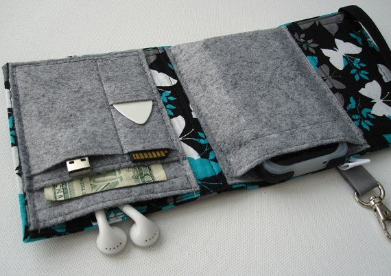 Nerd Herder gadget wallet in Butterfly Shadow for iPod, Droid, iPhone, metronome, camera, earbuds, SD cards, USB, guitar picks, IDs, phone
