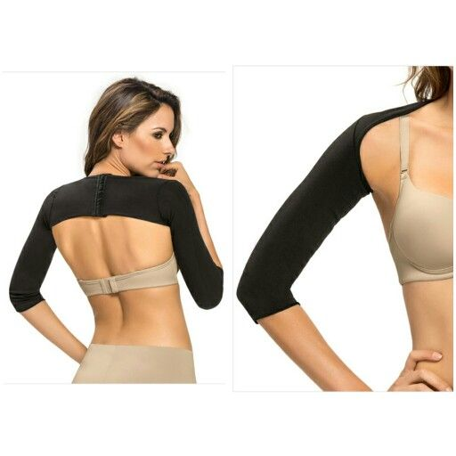 This arm shaper is perfect to wear for post-surgical arm procedures or to slim your arms. Made from exclusive SkinFuse™ compression fabric that smooths and compresses. It has ¾ length sleeves that provide the right amount of coverage. An adjustable hook back closure provides a good fit.!  ¾ sleeve arm shapertComfortably controls armstPost-Surgical Uses: Brachioplasty or liposuction