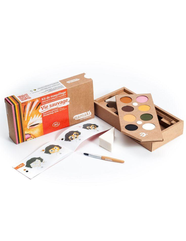 Kit maquillaje 8 colores Vida salvaje BIO Namaki Cosmetics ©: Este set de maquillaje BIO es de la marcaNamaki Cosmetics ©.Incluye 8 colores, 2 esponjas, un pincel y un folleto de ideas.En la paleta hay 8 colores de 3 cm de diámetro...