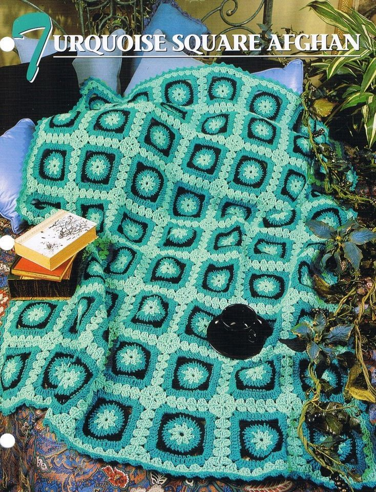 Turquoise Square  Annie's Attic Crochet Afghan Pattern Instructions