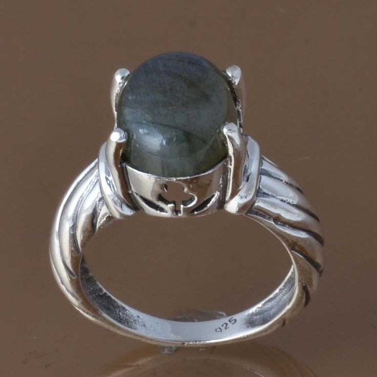 NEW DESIGNER 925 STERLING SILVER LABRADORITE RING 4.66g DJR8376 SZ-6 #Handmade #Ring