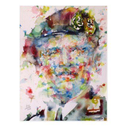 bernard montgomery - watercolor portrait postcard - postcard post card postcards unique diy cyo customize personalize