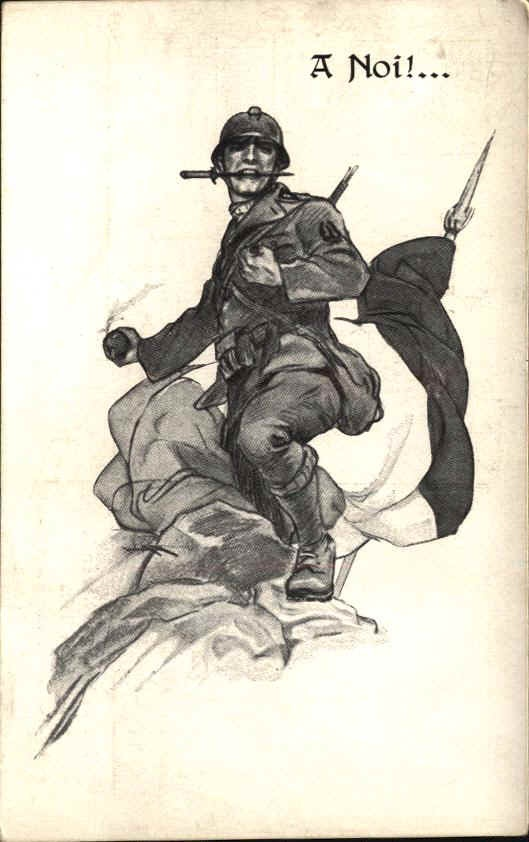 """Drawing representing an """" Ardito"""". The Arditi were the Italian assault infantry soldiers in WW 1, chosen for risky and very dangerous operations. Many of this soldiers (not all of them) were , after the war , the hard core of the first fascist black shirts brigades."""