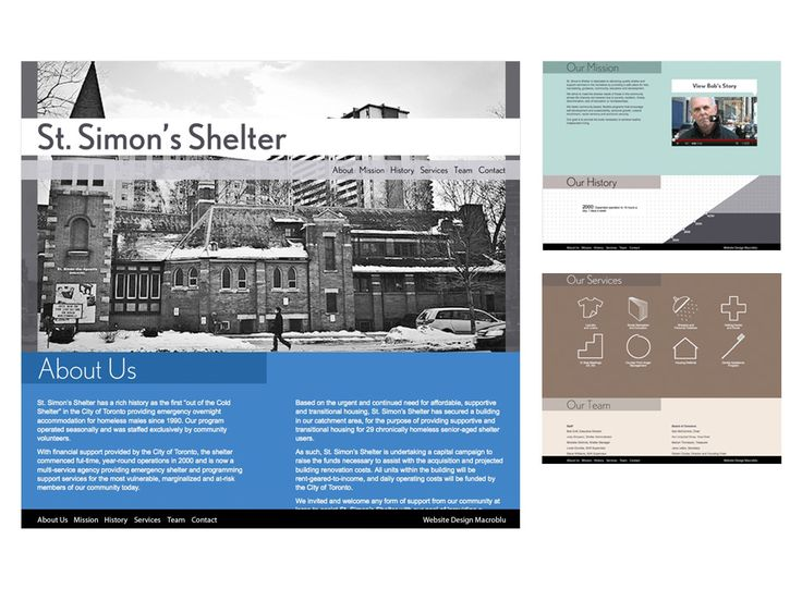 St. Simon's Shelter website design by Macroblu.