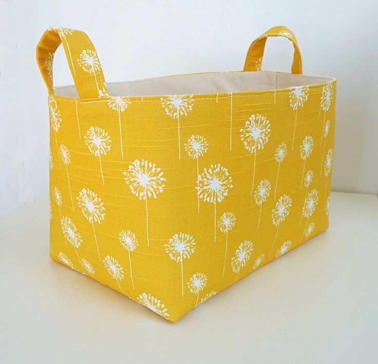 Extra Large Storage Basket Fabric Organizer in Yellow Dandelion with Handles - Your choice of size by littlehenstudio on Etsy https://www.etsy.com/listing/220924483/extra-large-storage-basket-fabric