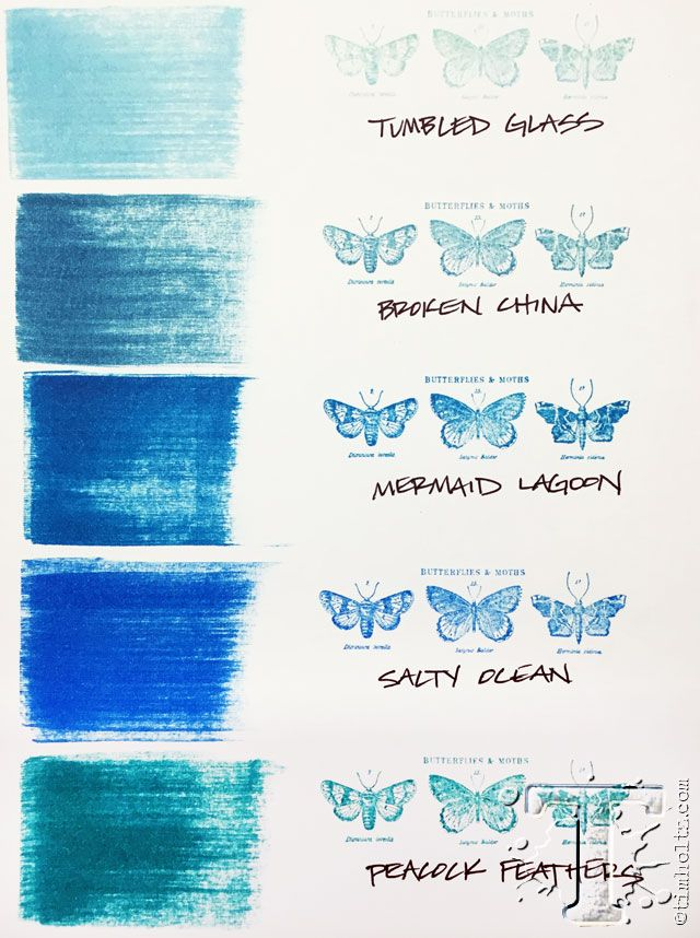 The third of 12 new distress ink colors introduced by Tim Holtz for Ranger Ink. This one is mermaid lagoon ~ shown with the pallet of previously launched blues.