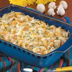 Turkey Tetrazzini.  my family loves this dish!!  But we use chicken instead.