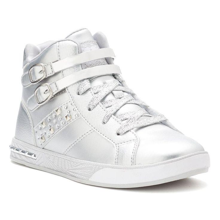 Skechers Sassy Kicks Girls' High Top Sneakers, Size: 11, Silver