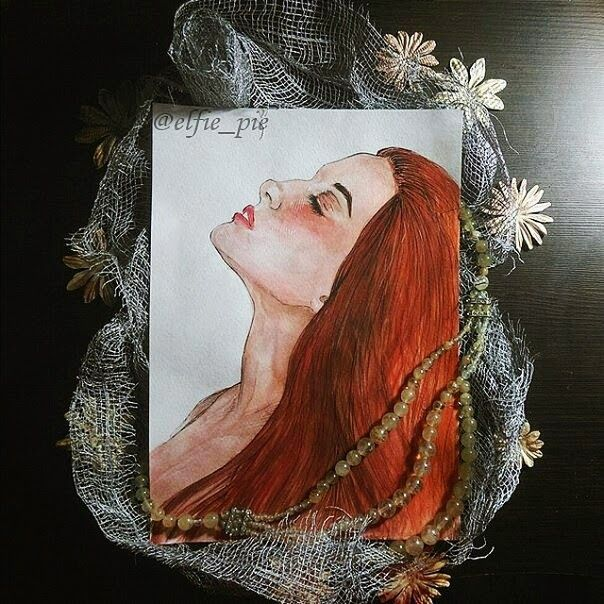 art illustration of a ginger girl, decored like a marmaid(my assotiations)