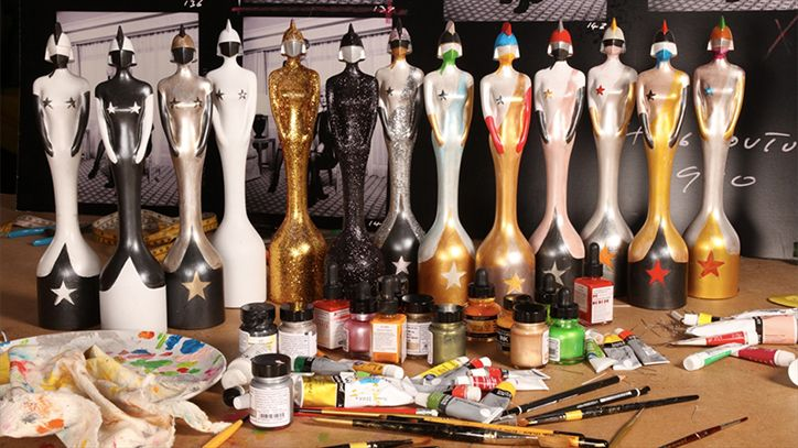 Designer Pam Hogg reveals first glimpse of the 2016 Brit Award trophies.