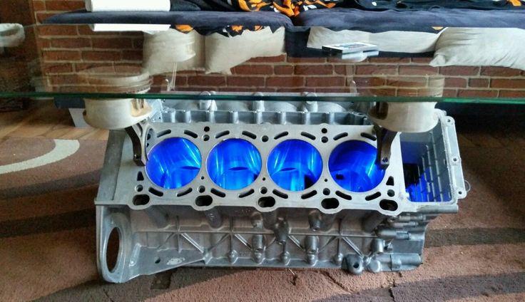 Bmw v8 motor tisch wohnzimmertisch mit led fernbedienung for Wohnzimmertisch led