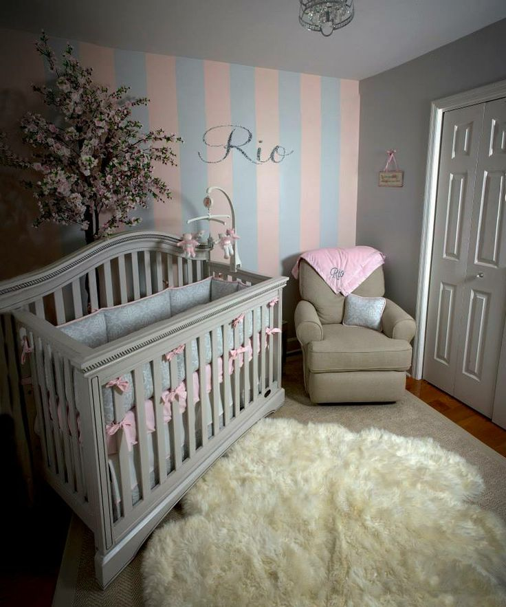 Soft And Elegant Gray And Pink Nursery: Baby Girl Nursery Chic Romantic Girly Light Pink Gray Tan