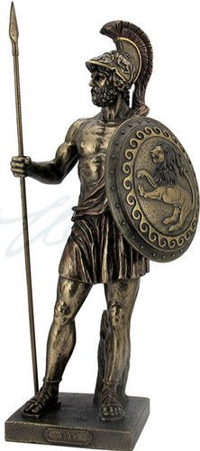 Ajax Greek Warrior Sculpture Greek Trojan War - Ajax was know for his strength and large body as a warrior in Grecian history. This replica of Ajax is made of a quality resin and hand painted in a bronze patina.