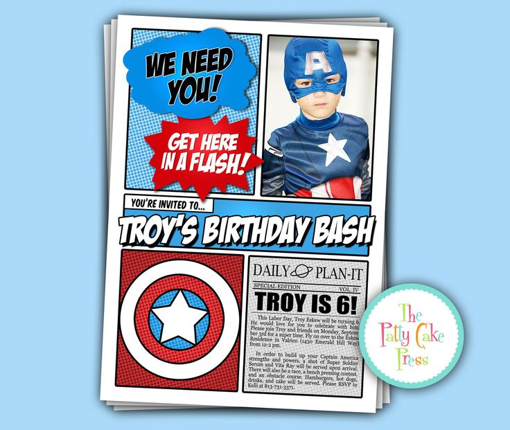 Avengers Invitation With photo, Birthday Party Custom Printable Digital File Super Hero Spiderman Superman Batman Superhero. $16.00, via Etsy.
