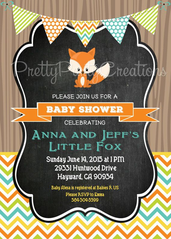 BOY LITTLE FOX invitation You Print by PrettyPartyCreations