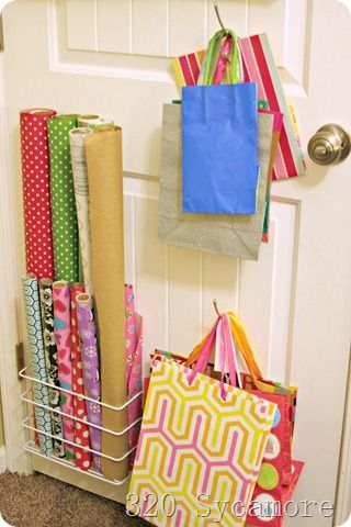 Wrapping station on the back of the door  from 320 Sycamore.: Closet Doors, Back Of The Doors, Crafts Rooms, Gifts Wraps Storage, Doors Gifts, Wraps Paper, Doors Organizations, 10 Storage, Doors Wraps