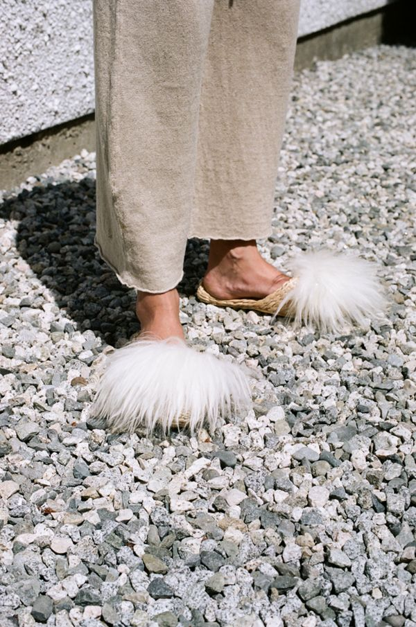 Folk Fortune Straw Slippers - lamb wool shearling $54 garmentory.com