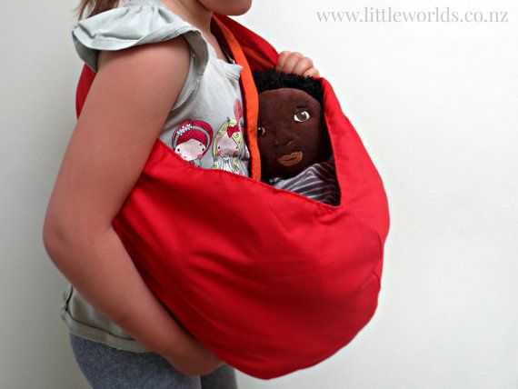 Doll Sling ~ this beautiful reversible red/orange cotton pouch sling is the perfect gift for children who love to carry their baby dolls or keep their favourite toys nearby! by LittleWorldsShop on Etsy