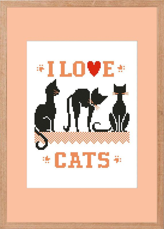 cross stitch patternx-stitchcatI Love Catsinstant