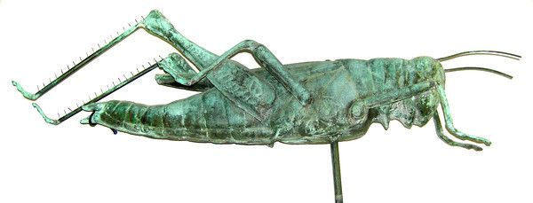 Originally designed by colonial craftsman Shem Downe in 1742 for Boston's Faneuil Hall, this famous 43-inch-long Grasshopper weathervane was later copied and mass marketed, probably by L.W. Cushing & Sons of Waltham, Mass., around the 1880s. Made of copper.