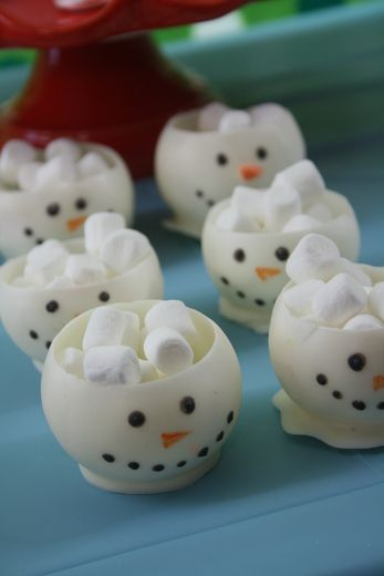 White Chocolate Snowman Cups ... filled with icecream?!?! you can do that in texas at christmas you know? haha