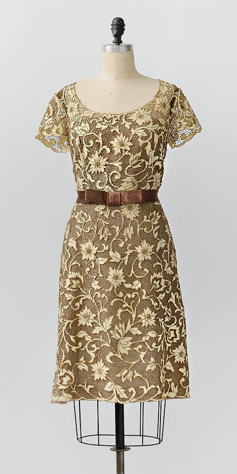 vintage 1960s ecru net lace dress with sash