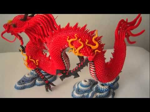3D origami red Chinese dragon tutorial (instruction) - YouTube