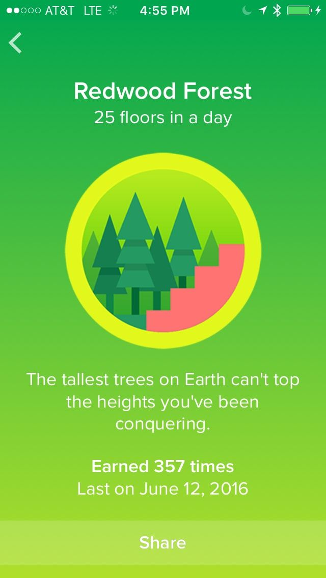 Fitbit Badges List: A Collection of the Fitbit Achievements- Redwood Forest- The 2nd Step badge earned with fitbit for levels climbed in a day.  | Exercise |Fitness | Fitbit App