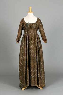 """A printed cotton dress, 1790-1820, is one of the items on display at the Chester County Historical Society's exhibit """"Profiles: Chester County Clothing of the 1800s""""  Photos by Laszlo Bodo"""