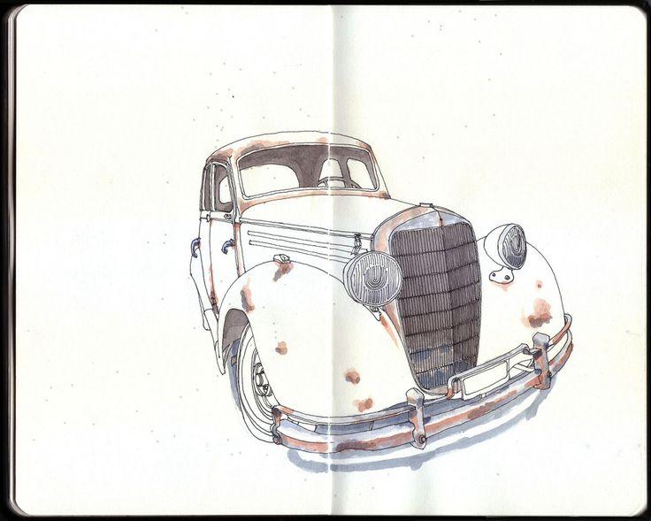Old Mercedes Benz Belgrano R, Buenos Aires http://sketches-fedetessa.blogspot.com.ar/2013/12/mercedes-benz.html