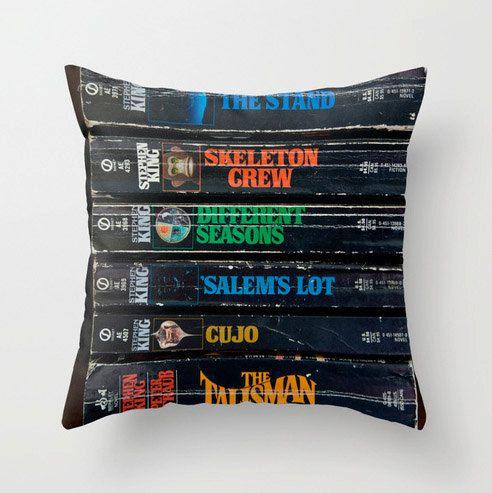 Stephen King Pillow, Books Pillow Case, Stephen King Lover, Books Art, Library Decor, Stephen King Gift, Throw Pillow Cover size 18x18 20x20