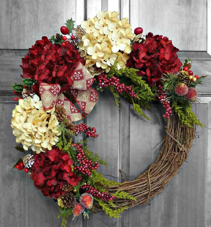 Holiday Wreath, Christmas Wreath, Hydrangea Wreath, Christmas Gift, Winter Wreath, Front Door Wreaths, Xmas Decorations, Outdoor Wreath by RefinedWreath on Etsy