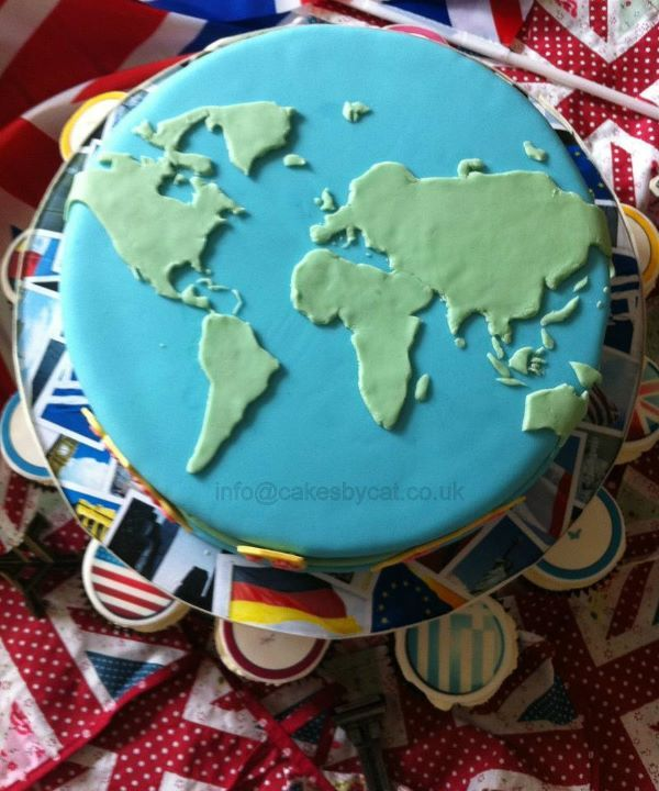 Potential dessert option - world cake with country flag cupcakes?