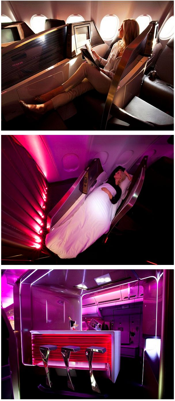 Virgin Atlantic reveals its new Upper Class cabin with the longest business class bed and bar in the sky    Read more: http://www.dailymail.co.uk/sciencetech/article-2134531/The-fuschia-air-travel-Bright-pink-100-million-First-Class-flying-cocktail-bar-looks-like-teleported-Betelgeuse.html#ixzz1uRutuKHk