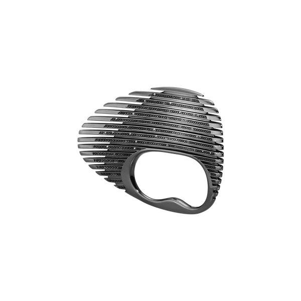 LAMELLAE double ring - sort rhodiumbelagt sterlingsølv med sorte diamanter