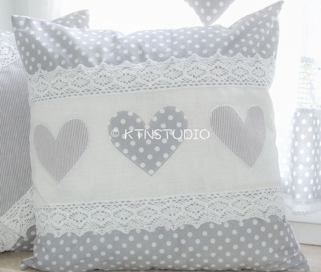 Pillowcases Pillow Cover Gray With Polka Dots And Hearts A