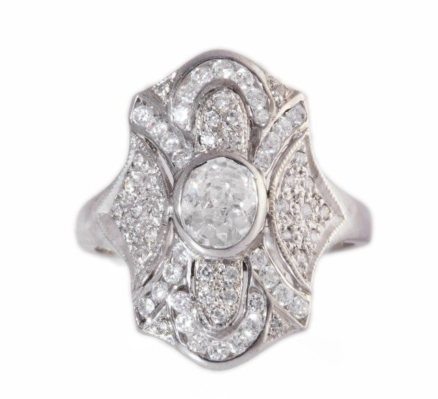 Sterling Silver Ring with Simulated Diamond,Vintage Jewellery