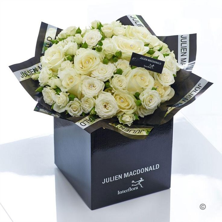 When only perfection will do, this breathtakingly elegant bouquet of magnificent pure white Avalanche roses is just right. Each immaculate bloom is beautifully contoured and pristine. We've simply added a few sparkling diamante pins to enhance the natural glamour to this stunning gift.