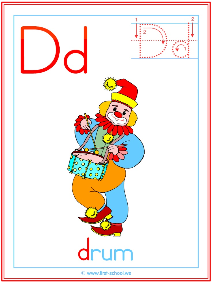 Letter D Drum theme lesson plan printable activities: poster, coloring page, handwriting worksheet & more