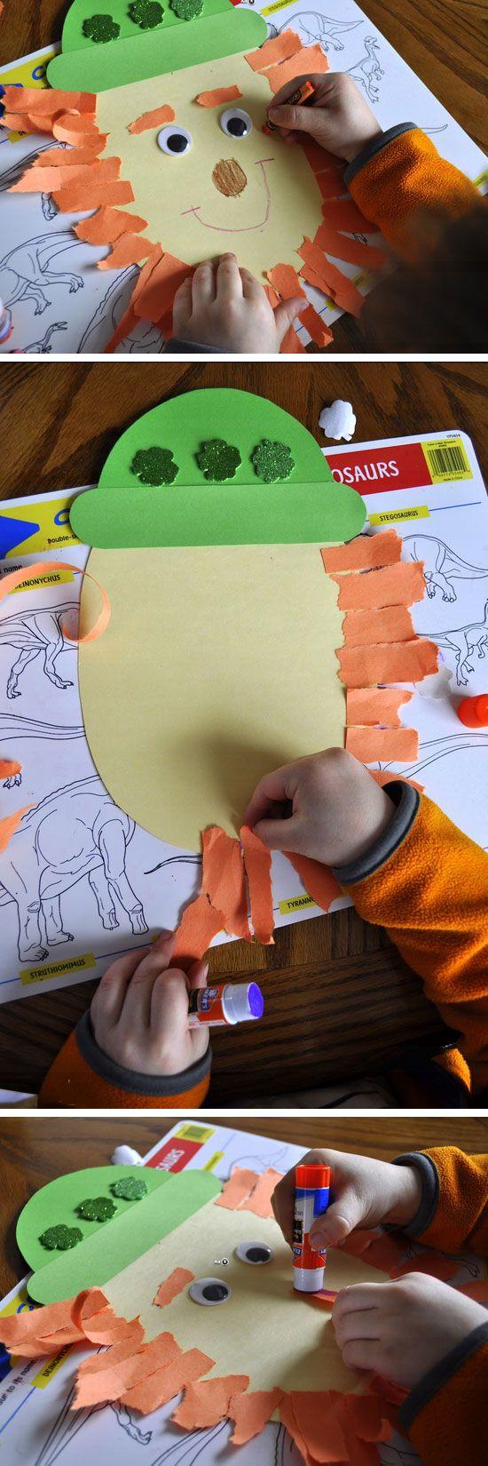 Torn Paper Leprechaun   DIY St Patricks Day Crafts for Toddlers to Make
