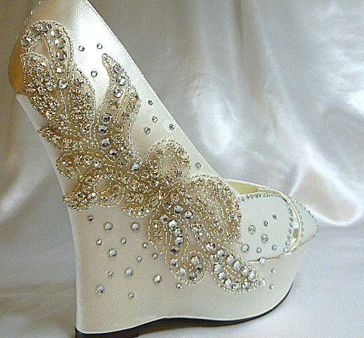 Ivory satin 5 inch wedge - Wedding look