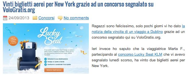 Vinti biglietti aerei per New York grazie ad un concorso segnalato su VoloGratis.org