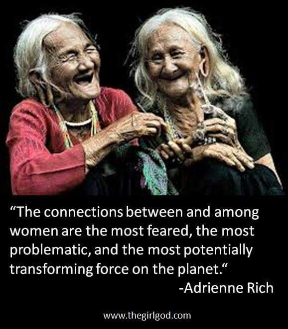 The connections between and among women are the most feared, the most problematic, and the most potentially transforming force on the planet ~~~❤~~~ adrienne rich ❤