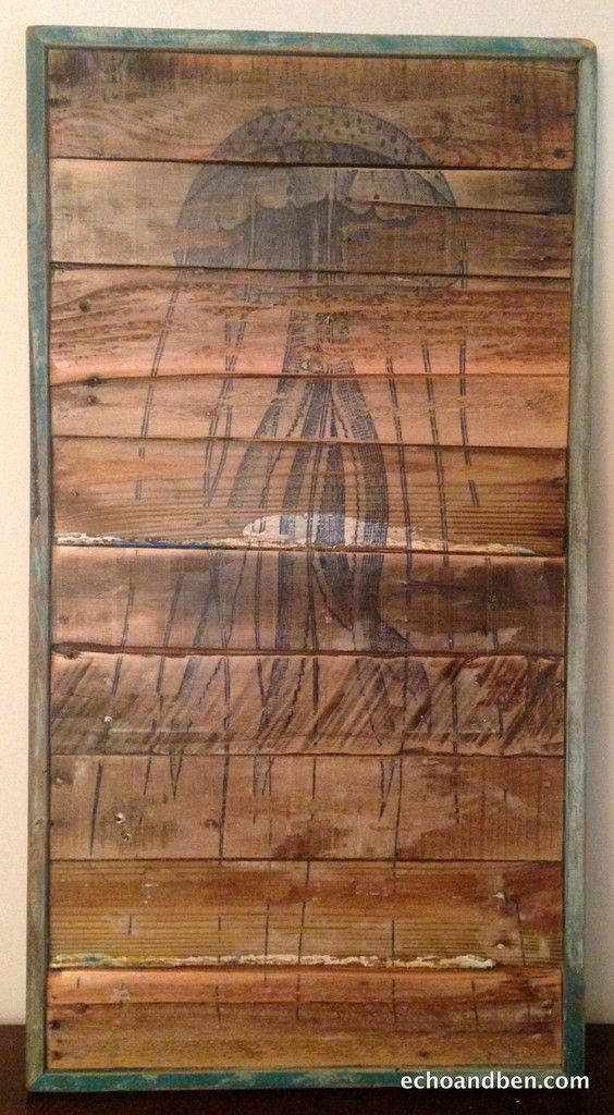 Jelly Fish vintage art on reclaimed wood
