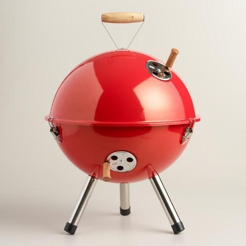 Our exclusive mini charcoal grill is the perfect portable cooking companion for the beach, picnics, camping or tailgating. Affordable and transportable, this compact barbecue is fully equipped with a heat vent and ash guard, a locking lid, tripod legs and a grilling surface large enough to cook multiple burgers at once.
