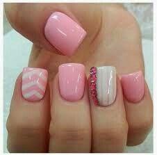 Pink chevron acrylic nails and nail art. #pink #chevron #acrylic #nailart