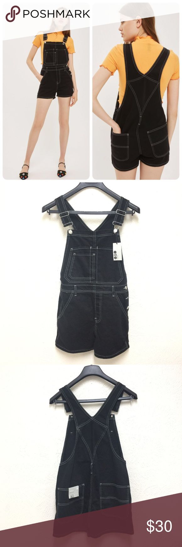 Topshop Contrast Stitch Short Overalls Size 6 New with tag.  US Size 6 Retail: $75 plus tax  ❌NO trade ❌Lowball Offer Will be IGNORED&BLOCKED.  ⚡️Serious Buyer ONLY⚡️NO DRAMA! ⭐️Same/next day shipping via USPS ⚠I video record all sales from packing to shipping so we are both protected ⚠ Topshop Jeans Overalls