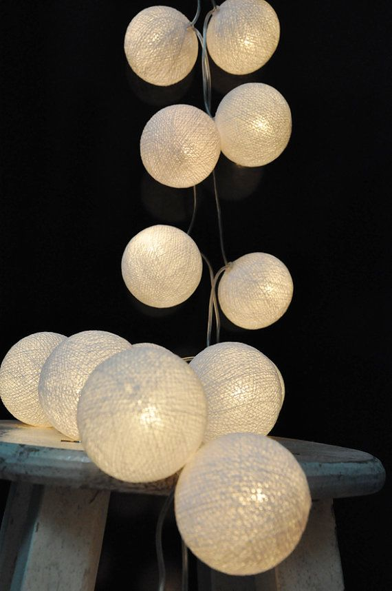 Outdoor String Lights Etsy : Handmade White cotton ball string lights for Patio,Wedding,Party and Decoration (20 bulbs)