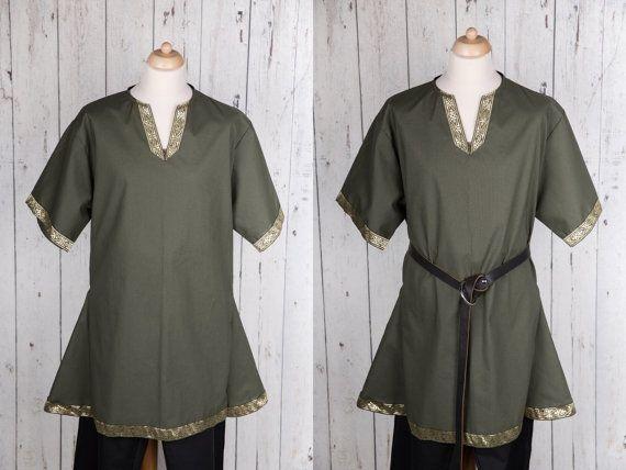 Green men's medieval tunic - Viking tunic - Short sleeve