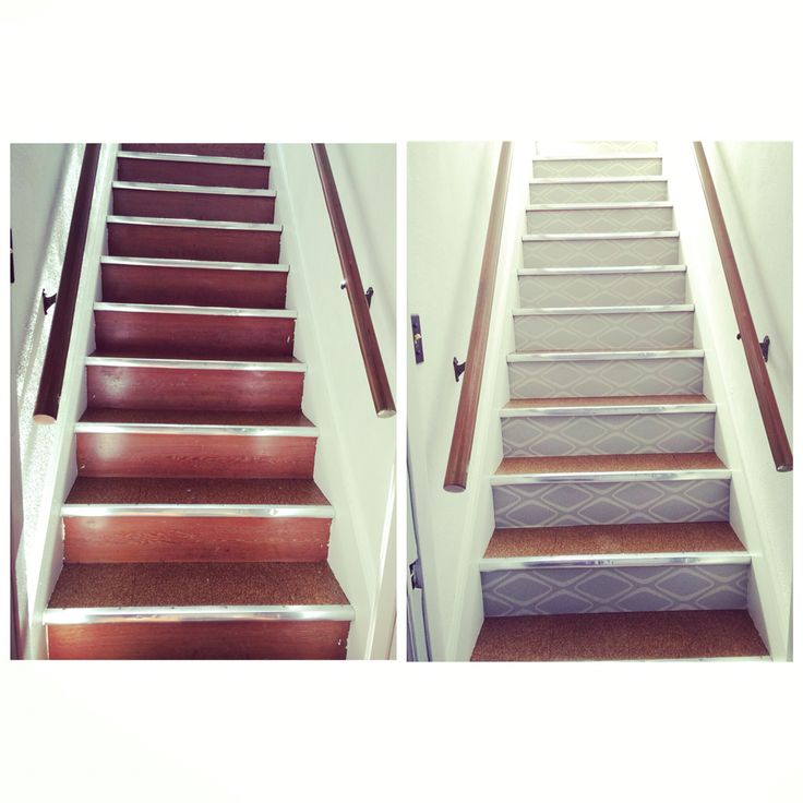 Before and after installation of wall paper on stair
